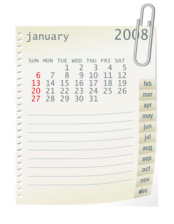 2008 calender whith a blanknote paper Stock Vector - 2704265