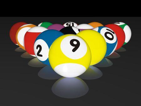 bola de billar: representaci�n de la alta calidad 3D de las bolas coloridas de la piscina