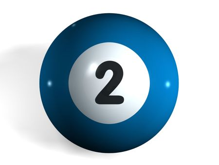 pool ball: isolated 3d pool ball number 2