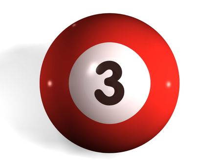 pool ball: isolated 3d pool ball number 3 Stock Photo