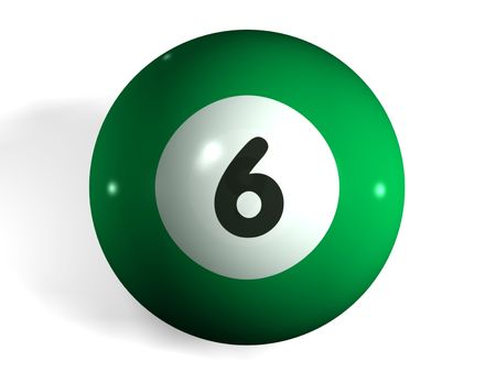 cloth halls: isolated 3d pool ball number 6 Stock Photo