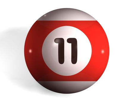 billiards room: isolated 3d pool ball number 11