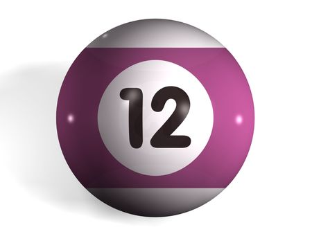 number 12: isolated 3d pool ball number 12 Stock Photo