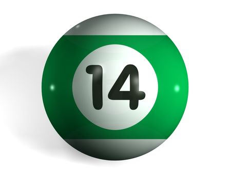 pool halls: isolated 3d pool ball number 14 Stock Photo