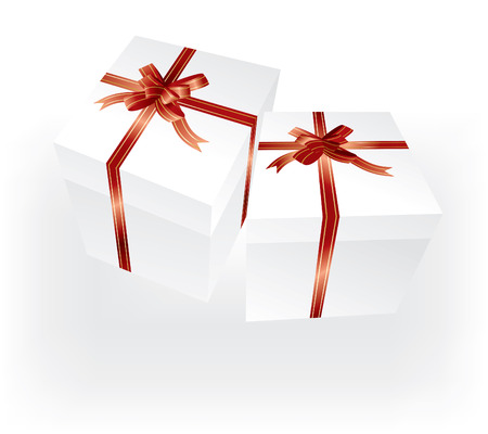 merrytime: vector white gift boxes with red ribbons Illustration