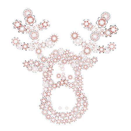 christmas reindeer via different snowflakes - vector illustration Vector