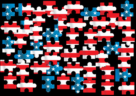 flagpoles: vector american flag - vector illustration