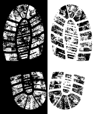 detailed black and white bootprint - vector illustration