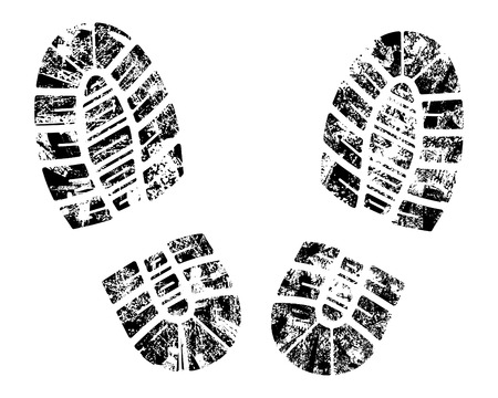 mud: detailed black and white bootprint - vector illustration