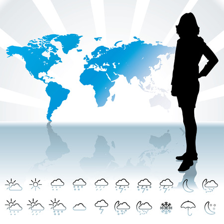 meteorologist: weathet forecast and icons - vector Illustration