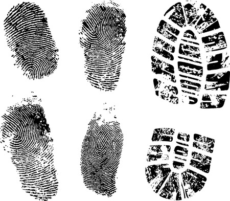 finger print: Detailed finger and boot print - vector illustration
