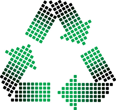 wastes: dotted recycling symbol on white - vector illustration