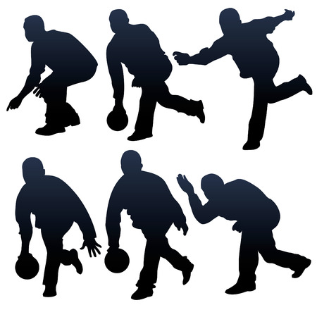 strike: bowling people silhouettes - vector illustration