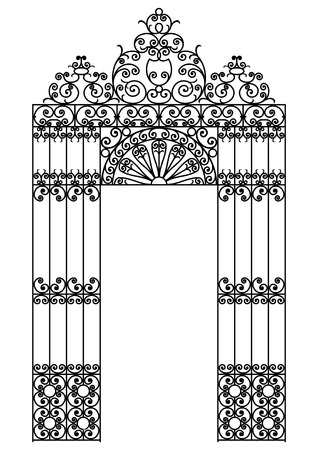 victorian fence: vector image of a wrought iron gate Illustration