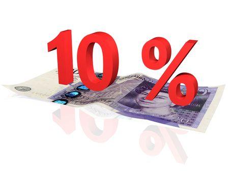 pounds: 10 % percentage on a twenty pounds banknote