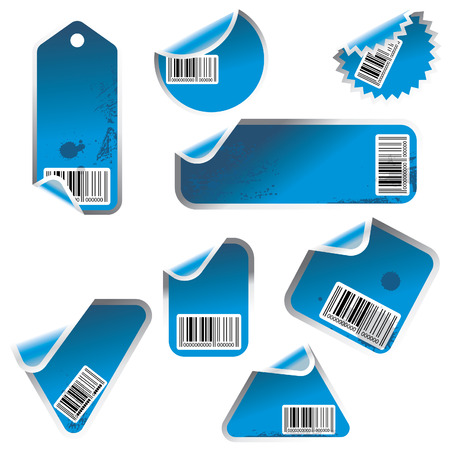 blue vector tag and sticker set with bar codes Illustration