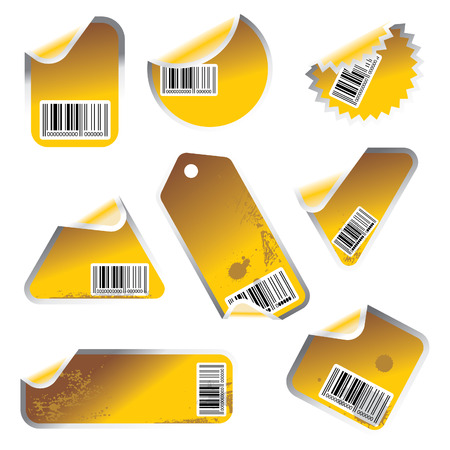 yellow vector tag and sticker set with bar codes Illustration