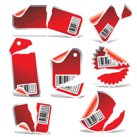 red ripped tag and sticker set with bar codes Vector