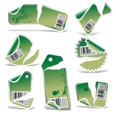 bar codes: green ripped tag and sticker set with bar codes Illustration