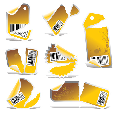 yellow ripped tag and sticker set with bar codes Vector