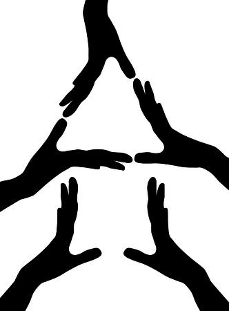 bevoelen: conceptuele home symbool gemaakt van handen Stock Illustratie
