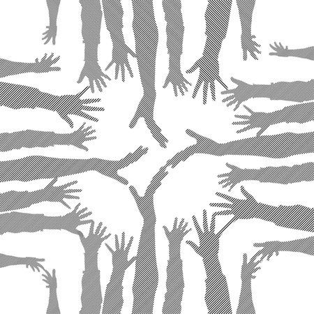 bevoelen: partij hand silhouetten gemaakt van lijnen
