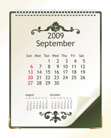 september 2009 Stock Vector - 3483854