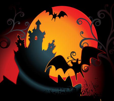 halloween illustration with full orange moon Illustration