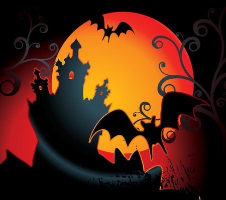 monsters house: halloween illustration with full orange moon Illustration