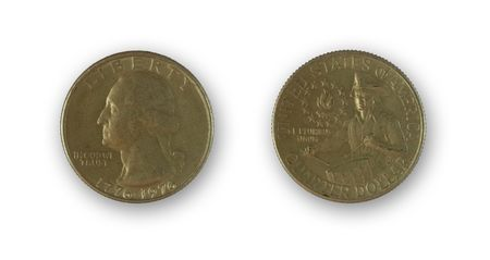 isolated two sides of quarter dollar - circular money photo