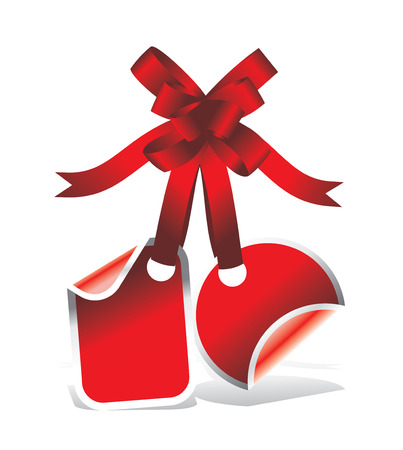 red tag or sticker with ribbon Vector