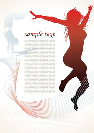 t�nzerin: aktive Menschen Silhouetten Hintergrund Illustration