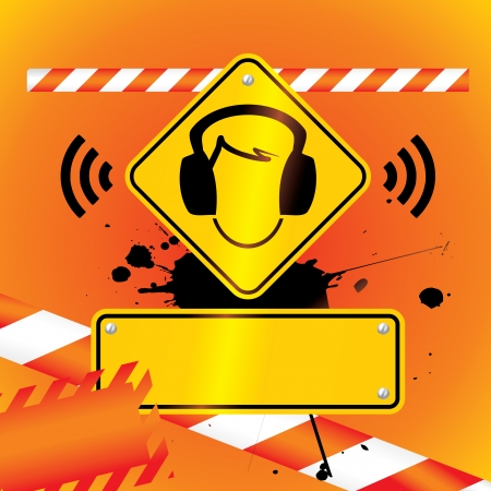 risks button: ear protection must be worn background Illustration