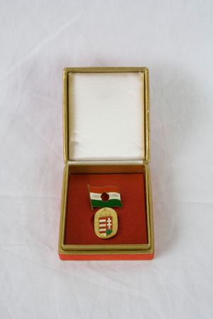commemorative: commemorative hungarian medal in opened red box