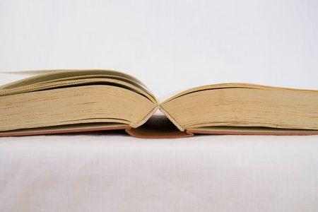 hard love: opened vintage book Stock Photo