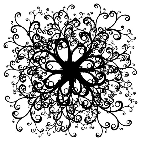 symmetrical curly black and white illustration Vector