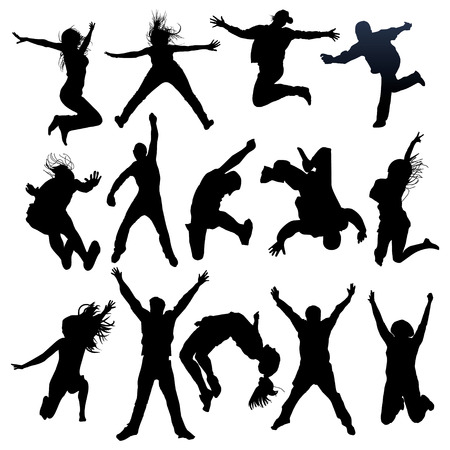 reach: jumping and flying people silhouettes Illustration