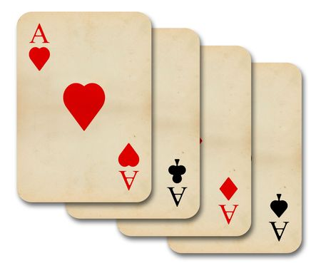isolated old vintage aces playing cards photo