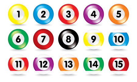 isolated 3d pool balls Stock Vector - 4928155
