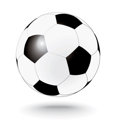 outdoor goods: simply black and white soccerball - vector illustration
