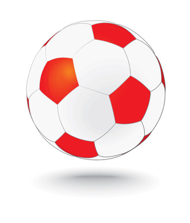 outdoor goods: simply red and white soccerball - vector illustration Illustration