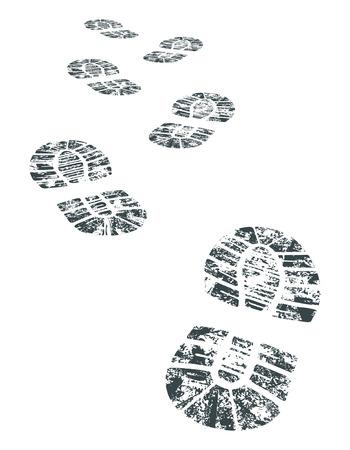 détaillée bootprint noir et blanc - illustration vectorielle