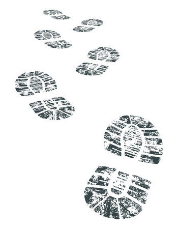 indent: detailed black and white bootprint - vector illustration