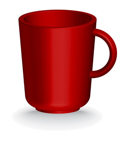 red coffe or tea cup - vector illustration Vector