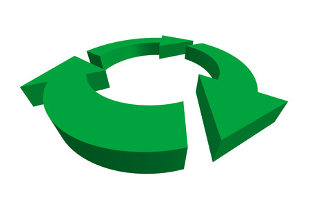 recycle symbol vector: isolated 3D green recycle symbol - vector illustration