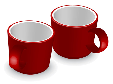 two red coffee cups - vector illustration Stock Vector - 5336780