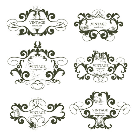 curly grunge vintage frames - vector illustration Vector