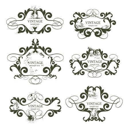 grunge vector: curly grunge vintage frames - vector illustration