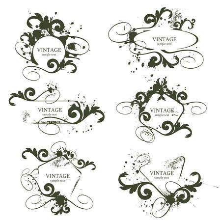 illustration vector: curly grunge vintage frames - vector illustration