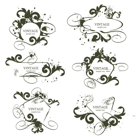 curly grunge vintage frames - vector illustration